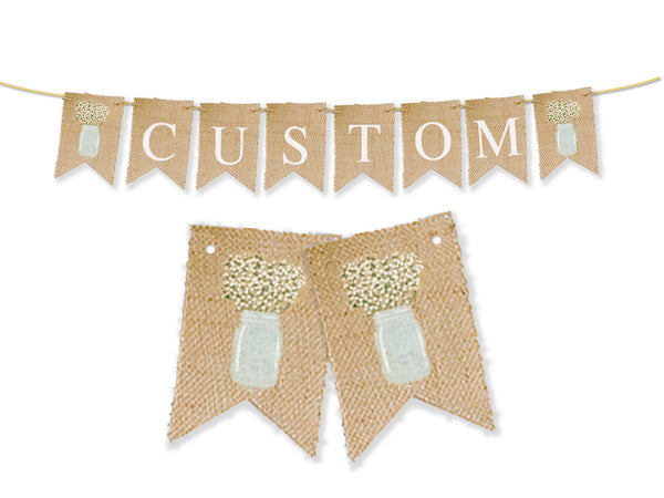 Custom Floral Mason Jar Decor, Personalized Banner