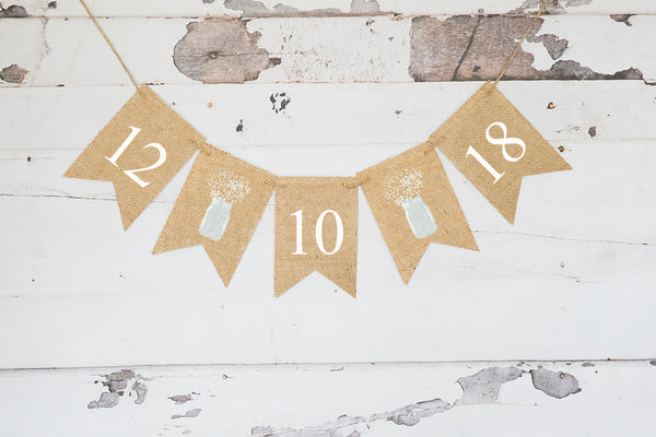 Mason Jar Wedding Decor, Save The Date Banner