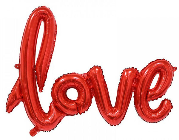 Valentine Balloon | Valentines Party Decor | Love Script Foil Balloon | Love Word Mylar Balloon | Wedding Photo Prop | BAL042