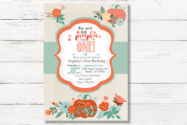 Pumpkin Birthday Invitations, Fall 1st Birthday