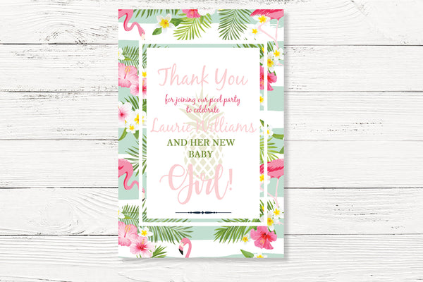 Floral Flamingo Baby Shower Thank You Card
