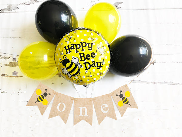 Bumble Bee First Birthday Collection | Happy Bee Party Decor with Balloons | Bumble Bee 1st Birthday Banner | COL007