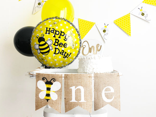 Bumblebee First Birthday Collection | Bumblebee Party Decor with Balloons | Bumblebee 1st Birthday Banner | Smash Cake Kit | COL008