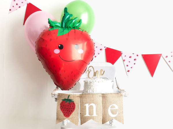 Strawberry First Birthday Collection | Strawberry Party Decor with Balloons | Strawberry 1st Birthday Banner | Smash Cake Kit | COL009
