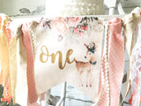 Watercolor Woodland Deer 1st Birthday Highchair Banner