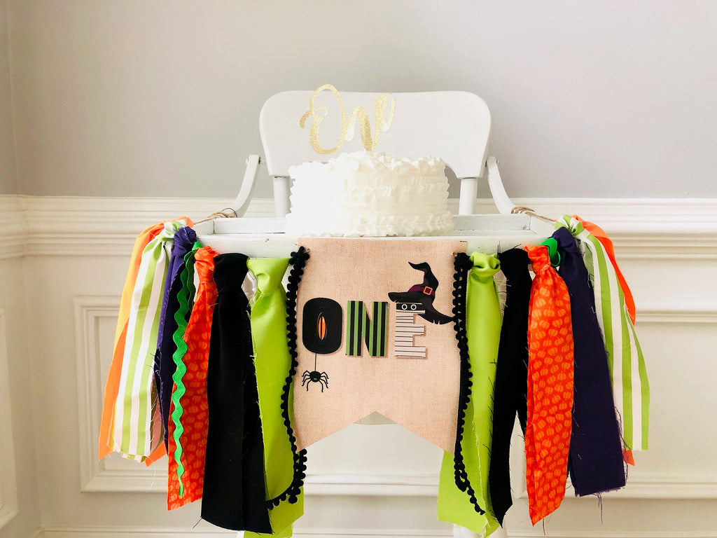 Halloween First Birthday Party Highchair Banner