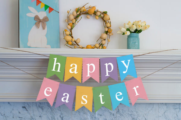 Easter Decor, Colorful Happy Easter Cardstock Banner