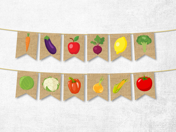 Summer Decor, Cardstock Market Vegetables Banner