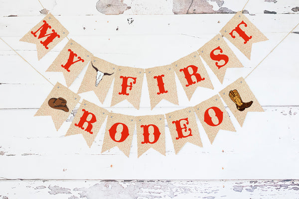 1st Birthday Decor, Western My 1st Rodeo Card Stock Banner