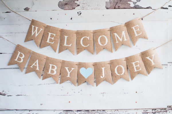 Blue Heart Welcome Baby Personalized Banner | Baby Shower or Gender Reveal Party Decor