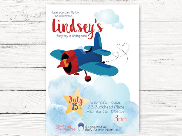 Digital Vintage Airplane Baby Shower, Airplane Invite, Adventure Begins Party, Airplane Pilot Themed Party, First Birthday Invitation , C129