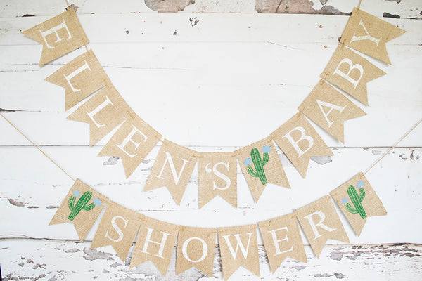 Fiesta Baby Shower Decor | Blue Cactus Personalized Banner