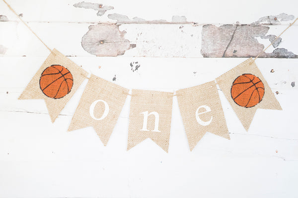 Basketball One Banner | Sports First Birthday Party Decor
