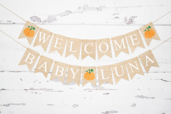 Pumpkin Baby Shower Decor, Welcome Baby Personalized Banner