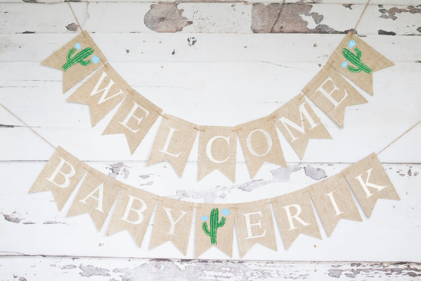 Blue Cactus Welcome Baby Personalized Banner | Baby Shower or Gender Reveal Party Decor