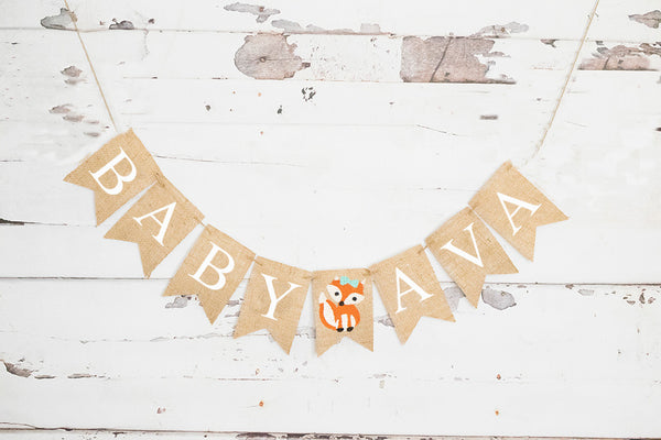 Girl Fox Baby Personalized Banner | Woodland Baby Shower or Gender Reveal Party Decor