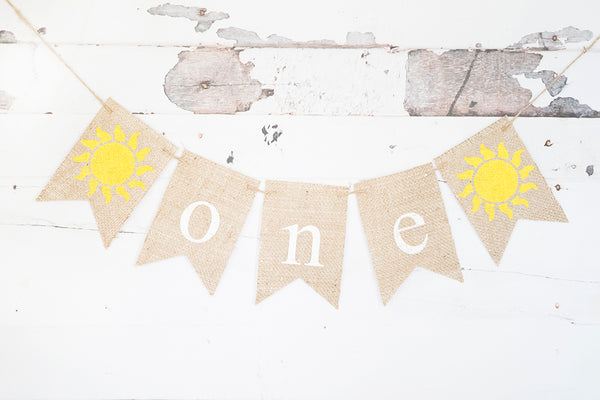 Sun One Banner | Summer First Birthday Party Decor