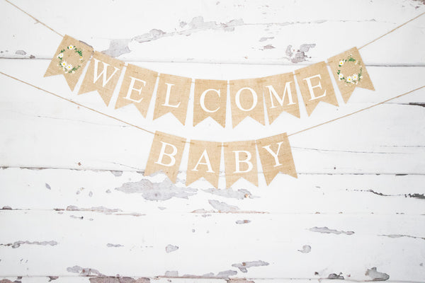 Welcome Baby Floral Banner for Baby Shower Decorations