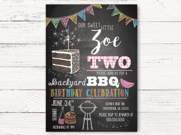 Digital BBQ 2nd Birthday Invitation, Girl Birthday Invitations, Personalized Barbecue Invitation, Girl Summer Birthday Invitation, C120