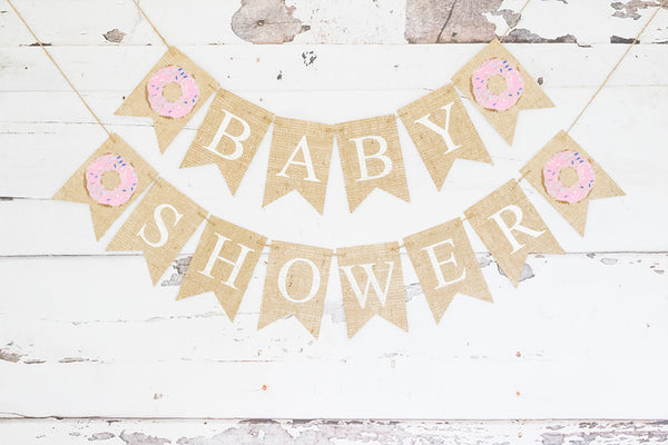 Donut Baby Shower Banner | Baby Shower or Gender Reveal Party Decor