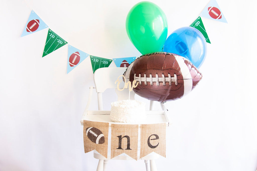 Football First Birthday Collection | Football 1st Birthday Decor with Balloons | Football 1st Birthday Decor | Smash Cake Kit | COL003