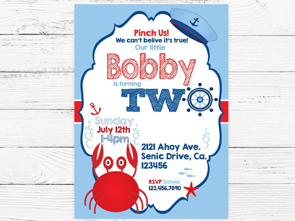 Nautical 2nd Birthday Party Baby Boy Invite Crab Swanky Box