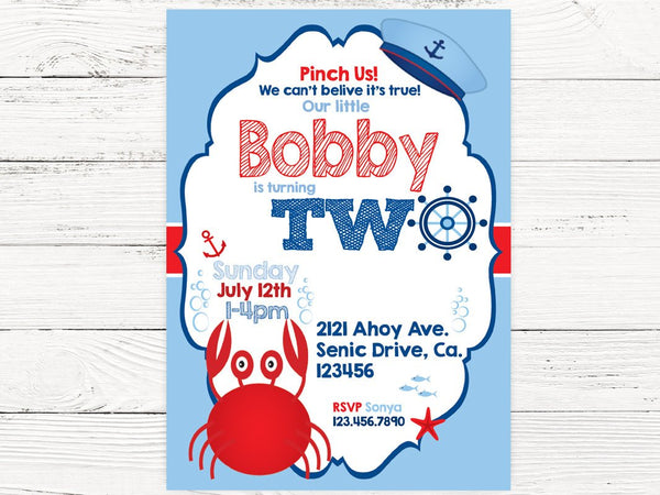 Nautical 2nd Birthday, Nautical Party, Baby Boy Invite, Crab Birthday, 2nd Birthday Invitation Sailor Invite , C138