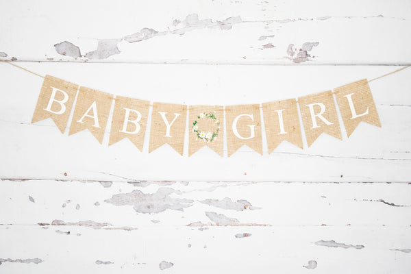Baby Girl Floral Wreath Banner | Baby Shower or Gender Reveal Decorations