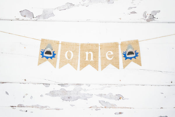 1st Birthday Decor, Beach Shark One Banner