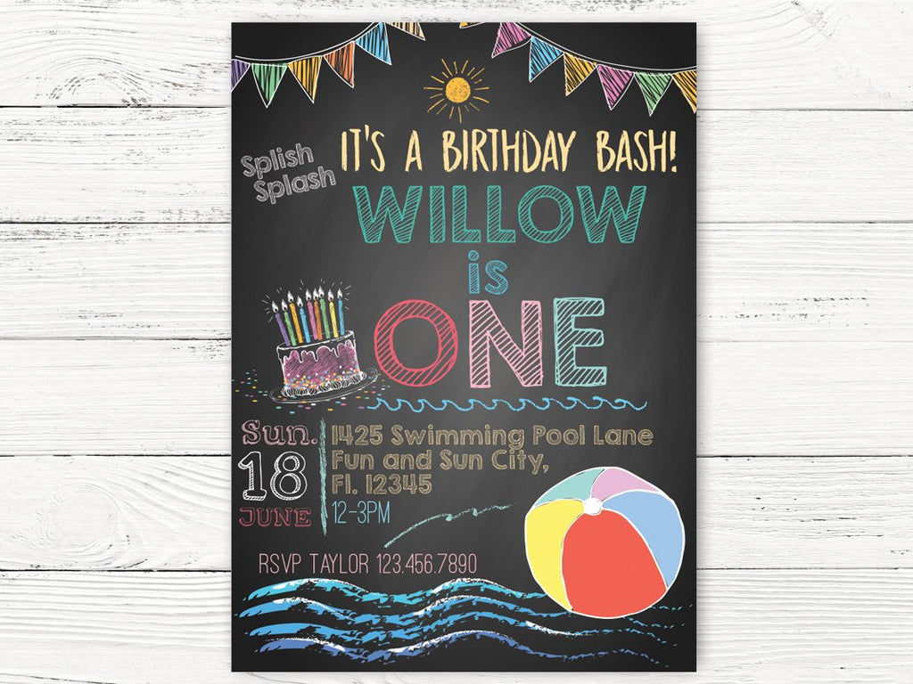 Digital Beach Ball Pool Party 1st Birthday Invitation, Summer Party In – Swanky Party Box