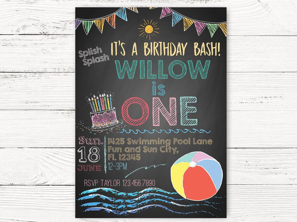 Digital Beach Ball Pool Party 1st Birthday Invitation Summer Invite