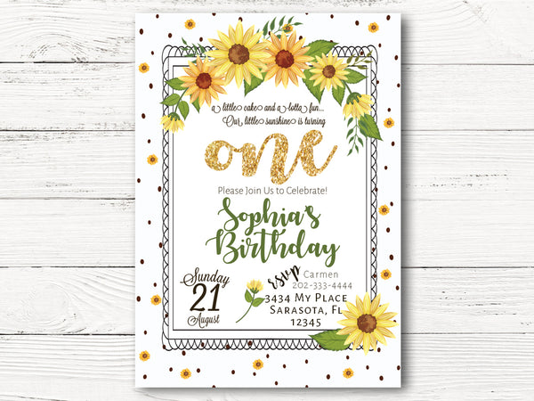 1st Birthday Invitations, Sunflower Invitations