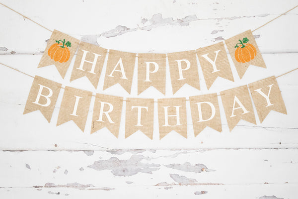 Birthday Decor, Pumpkin Happy Birthday Banner