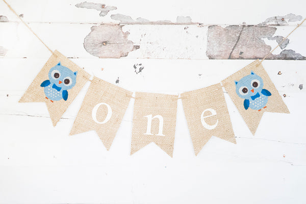 Blue Owl One Banner | First Birthday Party Decorations