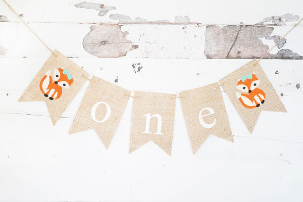 Girl Fox One Banner | Woodland First Birthday Party Decorations