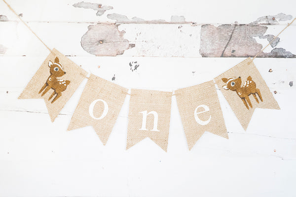 Baby Deer One Banner | Woodland First Birthday Party Decor