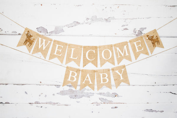 Welcome Baby Deer Banner for Baby Shower Decorations