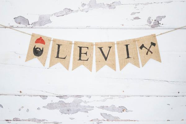Lumberjack Decor, Personalized Banner