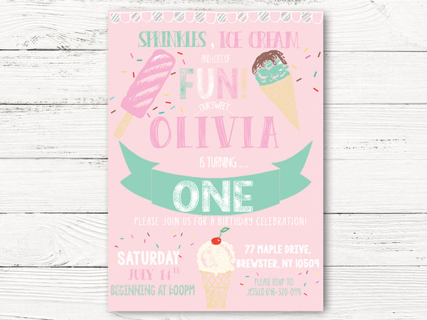 1st Birthday Invitations, Ice Cream Pink Invitations