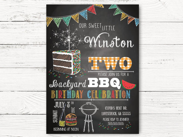 Digital BBQ 2nd Birthday Invitation, Boy Birthday Invitations, Personalized Barbecue Invitation, Boy Summer Birthday Invitation Cards, C121