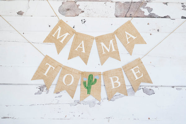 Blue Cactus Mama To Be Banner | Baby Shower or Gender Reveal Party Decor
