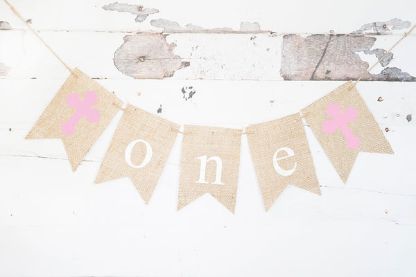 Pink Cross One Banner | First Birthday or Religious Party Decor