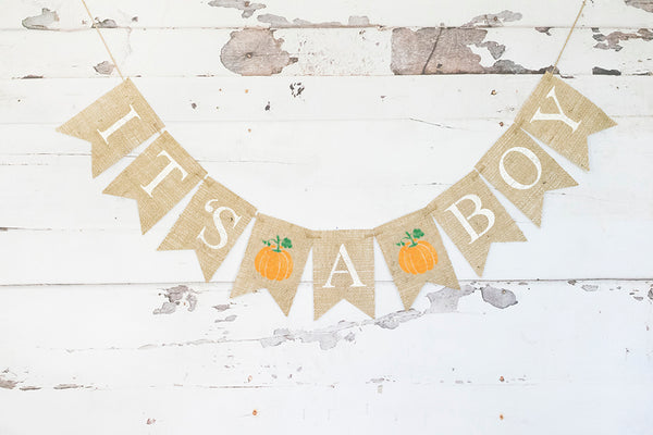 Pumpkin It's A Boy Banner | Fall Baby Shower or Gender Reveal Party Decor