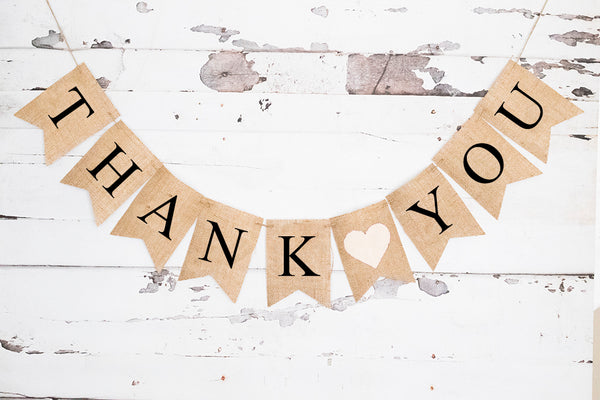 Thank You White Heart Banner | Wedding Decor