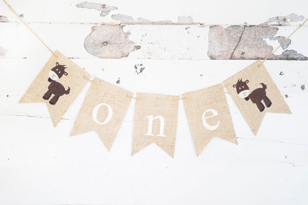 Goat One Banner | Farm First Birthday Party Decor