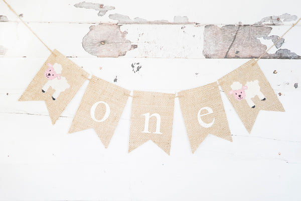 Sheep One Banner | Farm First Birthday Party Decor