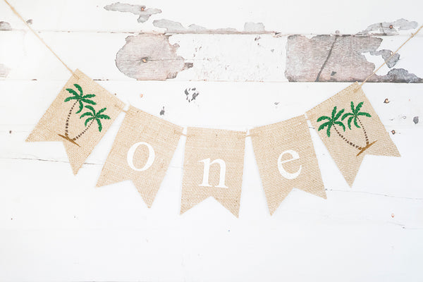 Palm Tree One Banner | Tropical Hawaiian Luau First Birthday Party Decor