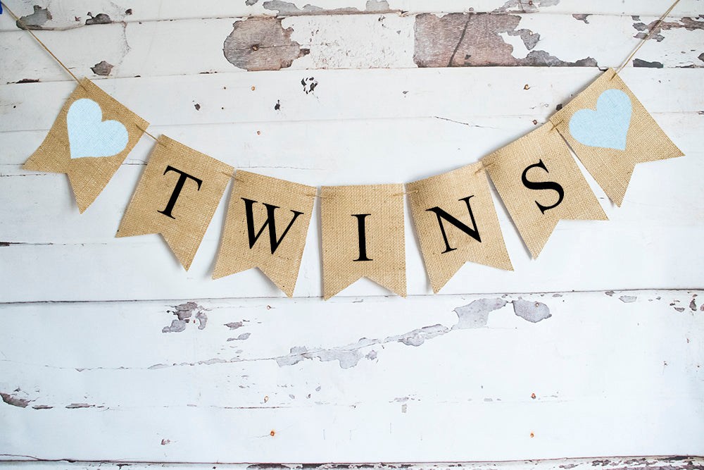 Blue Hearts Twins Banner | Baby Shower or Gender Reveal Party Decor