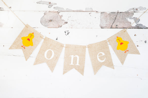 Chicken One Banner | Farm First Birthday Party Decor