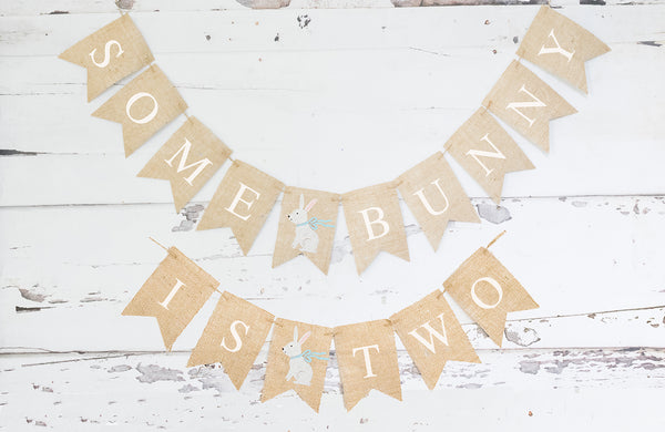 Blue Some Bunny Is Two Banner | Easter Second Birthday Party Decor